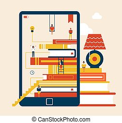 Electronic Book and Table Vector Illustration - Electronic...
