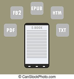 Electronic Book (e-book) Reader with Different Formats.