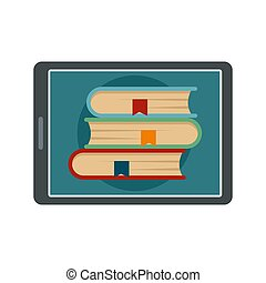 Electronic book icon, flat style