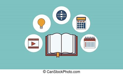 Book open with mobile app icons high definition animation colorful scenes