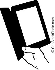 Electronic book reader - Hand holding an electronic book...