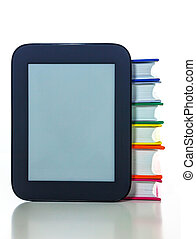 Electronic book reader with hard cover books