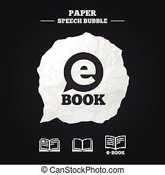 Electronic book signs. E-Book symbols.