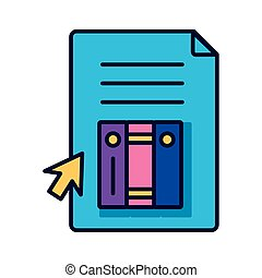 electronic books in document with cursor education online line style