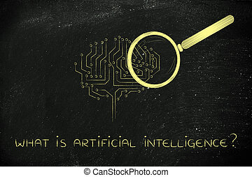 electronic brain with magnifying glass, artificial intelligence
