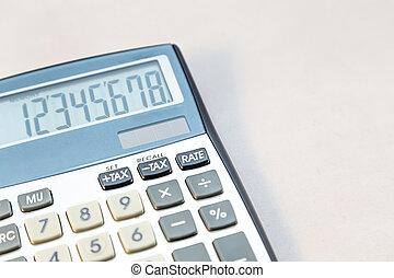 Electronic calculator on white background