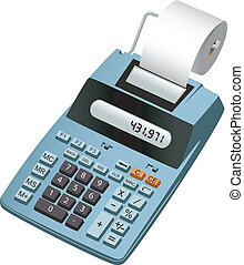 Electronic calculator - Realistic illustration of an...