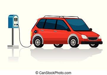 Electronic car on white background