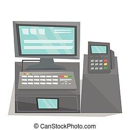 Electronic cash register vector illustration.