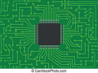 electronic chip - illustration of chip electronic on pcb