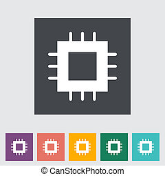 Electronic chip flat icon 2