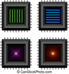 electronic chip glowing core  EPS10