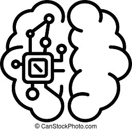 Electronic chip in the brain icon, outline style