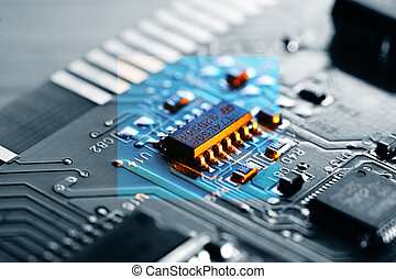 Electronic chip on circuit board. Macro close-up, shallow...