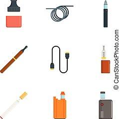 Electronic cigar icon set, flat style