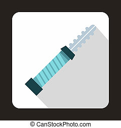Electronic cigarette cartridge icon, flat style
