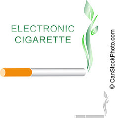 Electronic Cigarette Concept With Green Leaves Over White