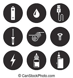 Electronic cigarette icons, white on a black background. ...