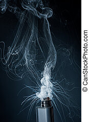 Electronic Cigarette on a black background and smoke from it