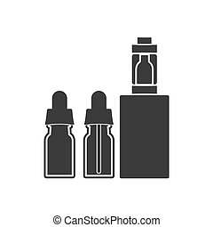 Electronic cigarette with bottles of liquid. Vector illustration