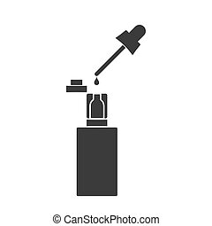 Electronic cigarette with the filled liquid. Vector illustration