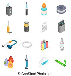 Electronic cigarettes isometric 3d icons