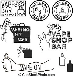 Electronic cigarettes set. - Set of vintage logos of ...