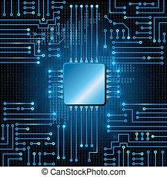 Electronic circuit and binary code - Drawing modern...