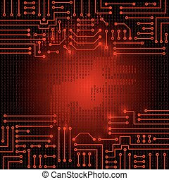 Electronic circuit and binary code - Drawing modern...