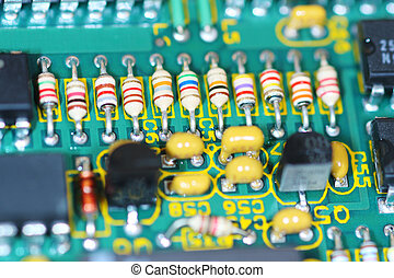 Close up view of a computer circuit board