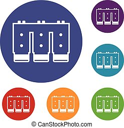 Electronic circuit board icons set