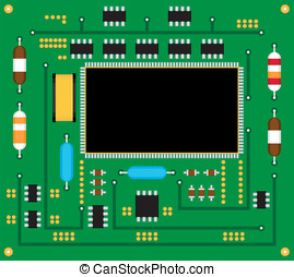 Electronic circuit board. Vector illustration.