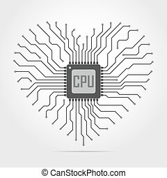 Electronic circuit board with chip in shape of heart. Vector...