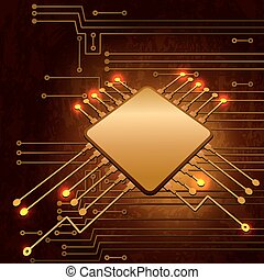 Drawing modern electronic circuit on grungy background