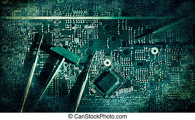 Electronic circuit grunge and vintage color texture paper grain background