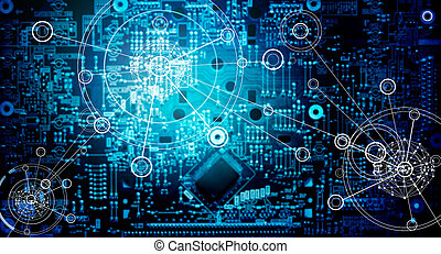 Electronic circuit network grunge background
