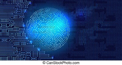 Electronic circuit with binary code and sphere - Drawing ...