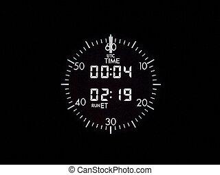 Electronic clock - Instrument panel; flight deck of a modern...