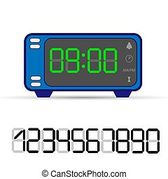 Electronic clock with a set of numbers for design and design
