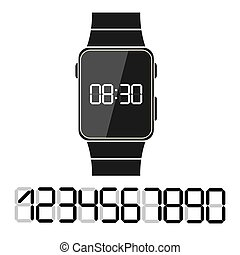 Electronic clock with a set of numbers to design your time, flat