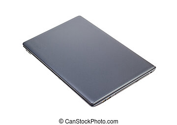 Electronic collection - Closed modern laptop top view isolated o