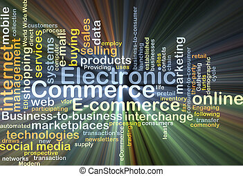 Electronic commerce background concept glowing