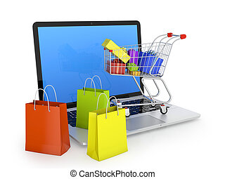 Electronic commerce - Laptop with shopping bags, shopping...