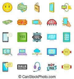 Electronic commerce icons set, cartoon style