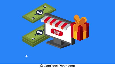 electronic commerce tech with giftbox ,4k video animation