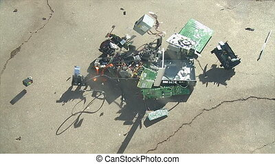 Electronic Components Crash - A pile of broken electronic...