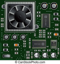 Electronic components - Green circuit board with electronic...