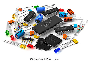 Group of various electronic components: microprocessors, logical digital microchips, transistors, capacitors, resistors, LEDs etc. isolated on white background Design is my own and all text labels are fully abstract