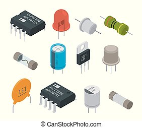 Electronic components icons. Isometric vector illustration
