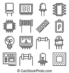 Electronic Components Icons Set on White Background. Vector illustration